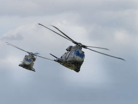 merlin: Yeovilton, UK - 11th July 2015: Royal Navy Merlin helicopters flying at Yeovilton Air Day. Editorial