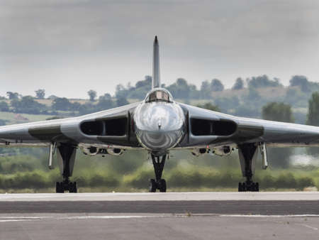 falklands war: Yeovilton, UK - 11th July 2015: Vintage Vulcan Bomber XH558 at Yeovilton Air Day. Editorial
