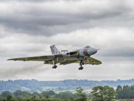 falklands war: Yeovilton, UK - 11th July 2015: Vintage Vulcan Bomber XH558 at Yeovilton Air Day. Editorial