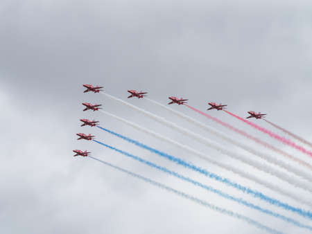 red arrows: Yeovilton, UK - 11th July 2015: Red Arrows air display team flying at Yeovilton Air Day.
