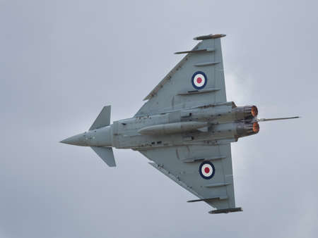 interceptor: Yeovilton, UK - 11th July 2015: RAF Typhoon jet fighter flying at Yeovilton Air Day.
