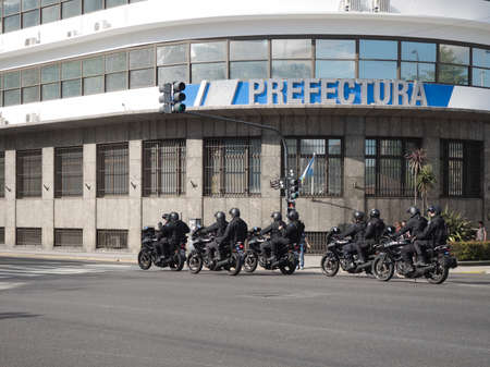 motorcycle officer: Buenos Aires, Argentina  - 20th October 2015: GOMF Armed motorcycle specialist Police.