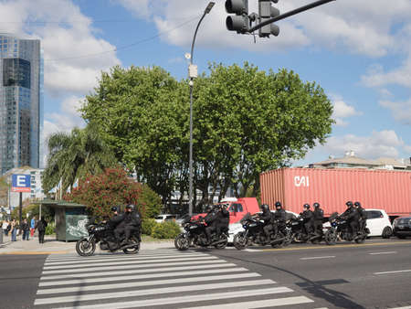 paramilitary: Buenos Aires, Argentina  - 20th October 2015: GOMF Armed motorcycle specialist Police.