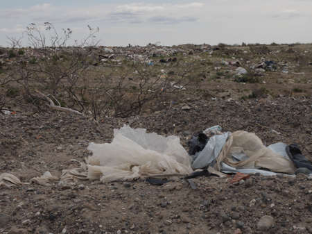 inappropriate: Litter and waste seen in open area of Patagonia Argentina. Stock Photo
