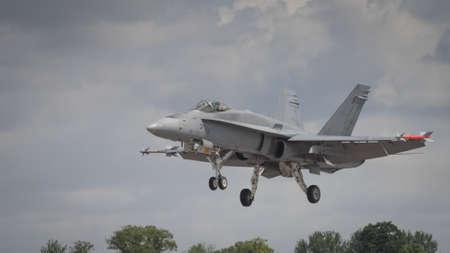 A McDonnell Douglas FA-18 Hornet aircraft in flight