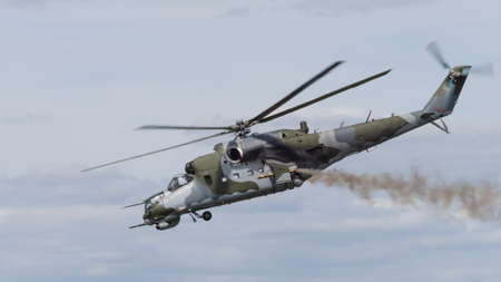 hind: Mi-24 Hind helicopter in flight Editorial