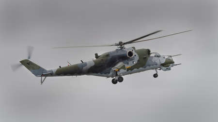 hind: Mi-24 Hind helicopter of in flight