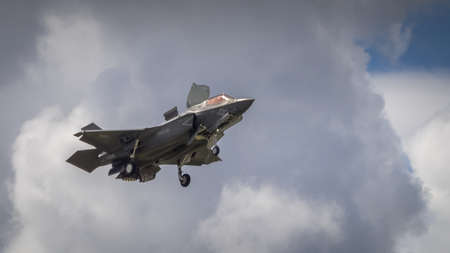 lockheed martin: Farnborugh, UK - 6th July 2016: Lockheed Martin F35B joint strike fighter aircraft in flight at Farnborugh Airshow