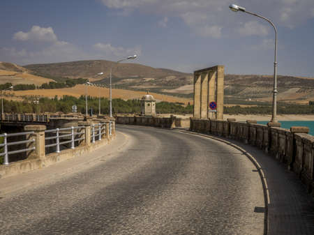View of the dam over Rio Alhama, Andalucia, Southern Spain Stock Photo