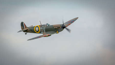 Biggleswade, UK - 7th May 2017: Vintage British Sptitfire fighter plane in flight