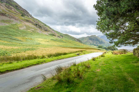 A landscape view of the area around Crummock Water, one of the lakes in the Lake District, Cumbria, United Kingdom. Stock Photo