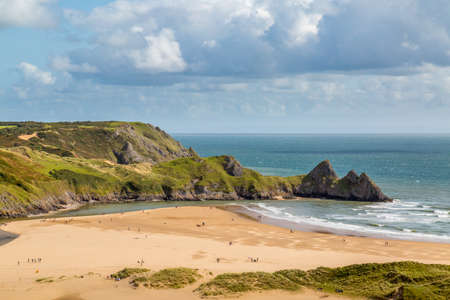 A view of Three Cliffs Bay, Swansea, UK Stock Photo