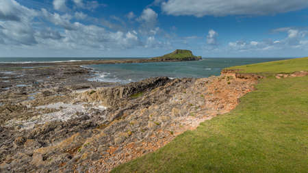 wales: A landscape view of the Worms Head, Rhossili, South Wales. Stock Photo