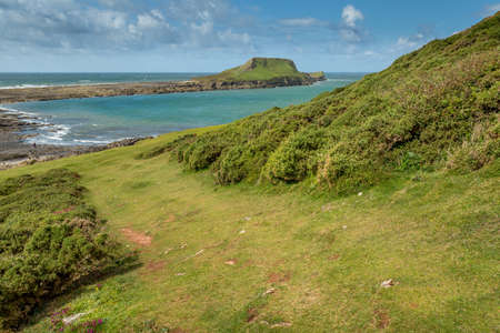 A landscape view of the Worms Head, Rhossili, South Wales. Stock Photo