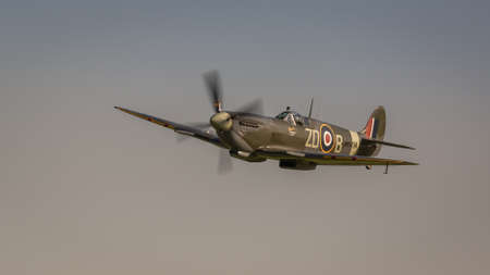 Biggleswade, UK - 6th May 2018:  A Supermarine Spitfire vintage World War Two British fighter aircraft in flight Editorial