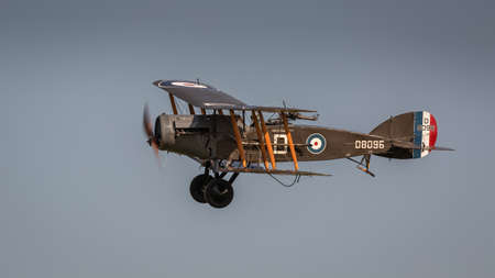 Biggleswade, UK - 6th May 2018:  A World War 1 vintage 1917  Bristol F2.b fighter bomber in flight at the Shuttleworth Collection.