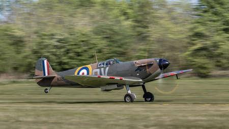 Biggleswade, UK - 6th May 2018:  A Supermarine Spitfire vintage World War Two British fighter aircraft in flight Editöryel
