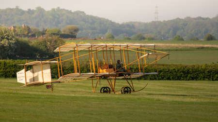 Biggleswade, UK - 6th May 2018:  A Flying replica of the Bristol Boxkite in flight at the Shuttleworth Collection.