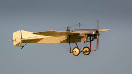 Biggleswade, UK - 6th May 2018:  A Flying replica of a Deperdussin1910 in flight at the Shuttleworth Collection.