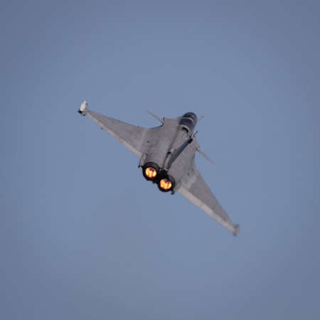 YEOVILTON, UK - 7th July 2018: French Dassault Rafale fighter jet in flight over Yeovilton RNAS airfield in south western UK