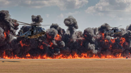 YEOVILTON, UK - 7th July 2018:  Royal Navy   helicopters in flight above pyrotechnic display simulating an attack at Yeovilton  airfield in south western UK