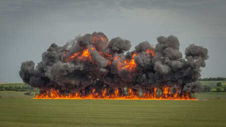 Large explosion in field