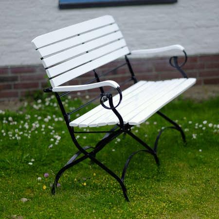 garden bench: white garden bench 2 Stock Photo