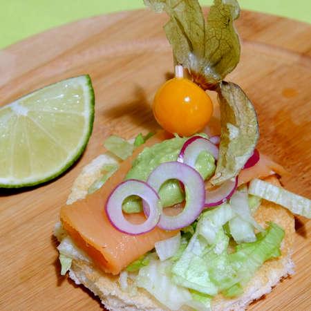 tunafish: salmon sandwich Stock Photo