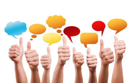 many thumbs up with speech bubbles photo