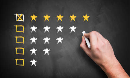 product reviews: hand giving a five star rating