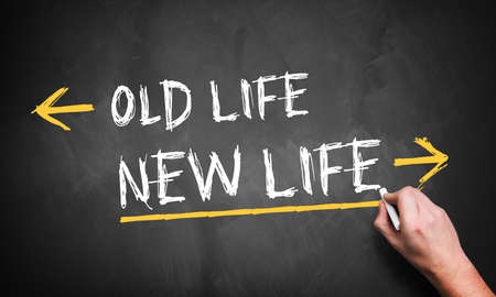 difficult lives: Blackboard showing directions to the old and new life Stock Photo