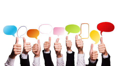 many business hands with thumbs up and speech bubbles