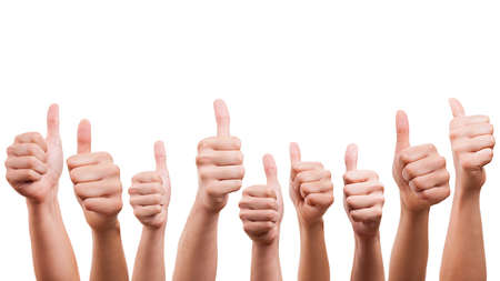 teamwork hands: many thumbs up Stock Photo