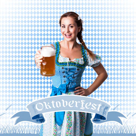 tracht: attractive brunette girl in a dirndl with a beer