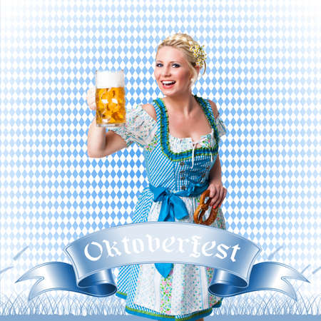 wiesn: young woman in a dirndl with a beer and a pretzel