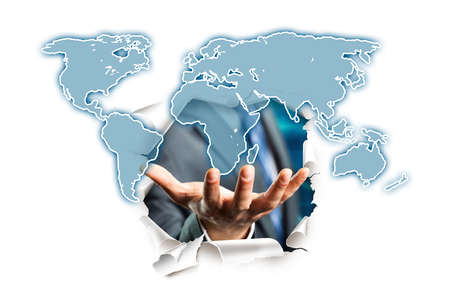 breakthrough: businessman presenting world map as solution