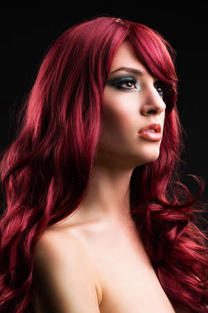 attractive red haired woman  Stock Photo