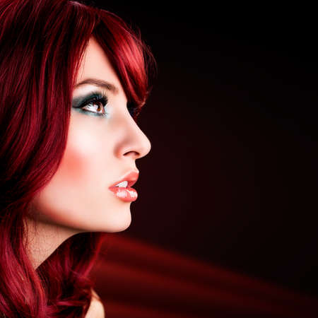red haired: attractive red haired woman