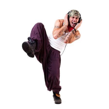 young happy dancing man photo