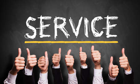 up service: thumbs up to good service  Stock Photo