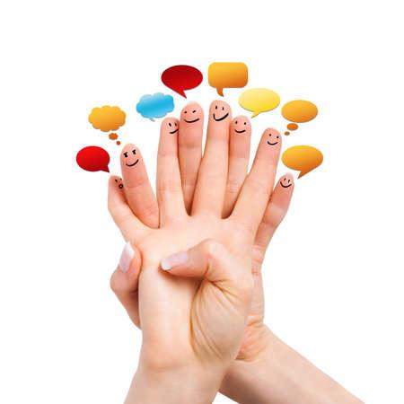 caritas pintadas: muchos dedos con smileys y bocadillos