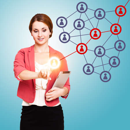 referral: young woman touching an icon activating a word of mouth chain