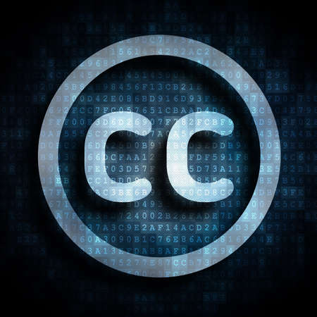 cc: creative commons license symbol on digital background