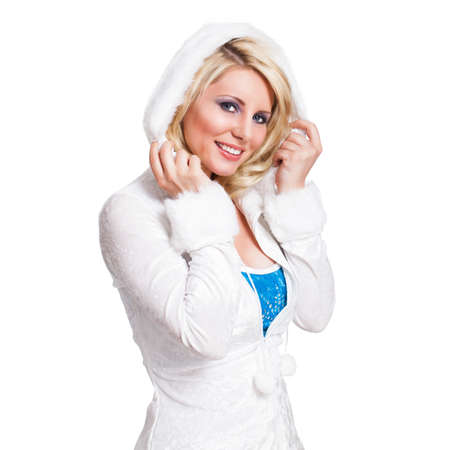 romper: young blonde girl in a winter outfit  Stock Photo