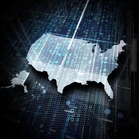 binary data: map of usa in digital environment  Stock Photo