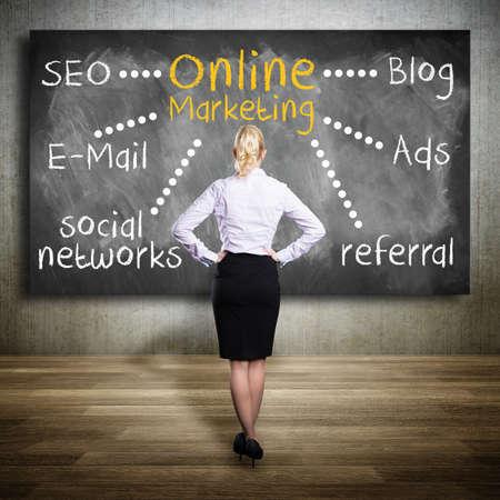 planning online marketing on a blackboard  photo