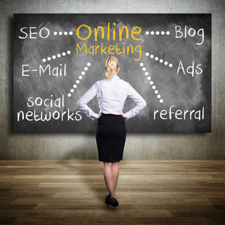 writing lines: planning online marketing on a blackboard