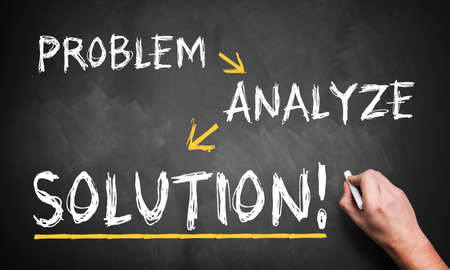 analytic: Man drawing the steps Problem, Analyze, Solution on a blackboard  Stock Photo