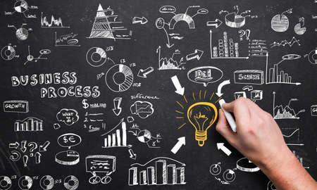 visualization of a big business process on a chalkboard  版權商用圖片