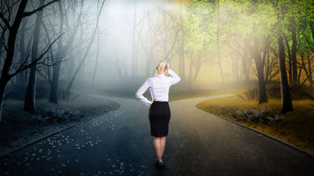career choices: businesswoman has to decide which direction is better